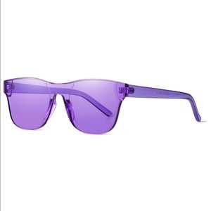 Rimless Wayfarer Sunglasses Retro Purple Classic